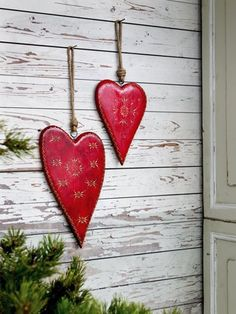 Hand Painted Wooden Heart Ornaments ~
