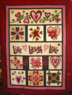 Live Laugh Love kit includes all fabrics for your applique, quilt top and binding, plus pattern. Finished quilt size is x Applique Patterns, Applique Quilts, Quilt Patterns, Applique Ideas, Hand Applique, Quilting Fabric, Applique Designs, Cute Quilts, Mini Quilts