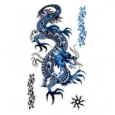 chinese dragon  images | Blue Chinese Dragon Tattoo - Temporary Tattoo Canada