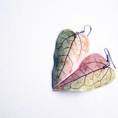 Polymer clay pastel earrings- polymer clay jewelry-ombre leaf earrings-heart shaped dangle earrings- handmade- salmon pink and light green