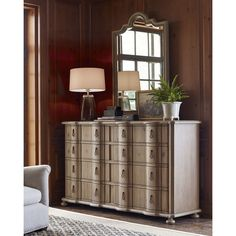 Aimee Dresser ($1,799) ❤ liked on Polyvore featuring home, furniture, storage & shelves, dressers, khaki, 8 drawer dresser and eight drawer dresser