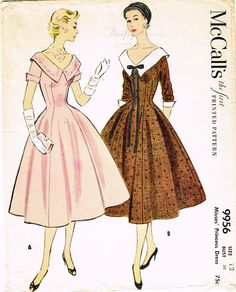 1950s Vintage Misses Dress 1954 McCalls VTG Sewing Pattern 9956 Size 1 – Vintage4me2