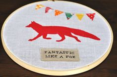 Fantastic Like a Fox Embroidery Hoop by RedRedCompletelyRed, $20.00