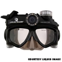 Wide Angle Scuba Cam - records HD 720P video (1280x720) with 5-mega-pixel still images. The mask has lever-style buttons, which eases changing modes while wearing diving gloves. www.liquidimageco.com