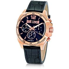 Just Cavalli Just Escape Chronograph Rose Gold Steel w/Black Croco... (1.200 RON) ❤ liked on Polyvore featuring men's fashion, men's jewelry and men's watches