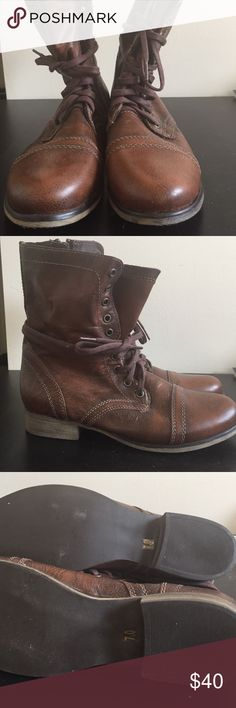 classic combat boot with size zipper Classic stylish comfortable combat boot. Never worn no box. Steve Madden Shoes Combat & Moto Boots