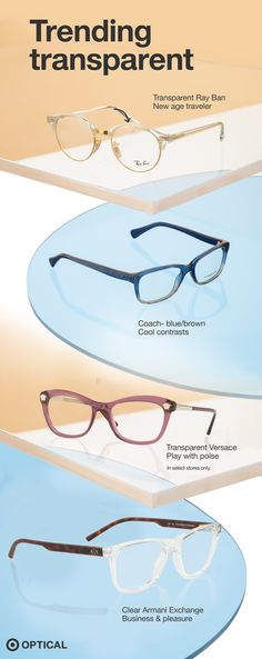 Inspire your look with transparent frames. Target Optical will help you try clear, on-trend styles.