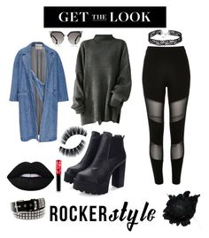 """""""Untitled #19"""" by denisegul ❤ liked on Polyvore featuring Sandy Liang, Fendi, River Island, Lime Crime, rockerchic and rockerstyle"""