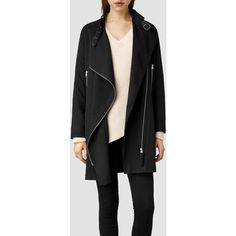 AllSaints Wren Biker Coat ($303) ❤ liked on Polyvore featuring outerwear, coats, black, tops, oversized coat, biker coat, waterfall coat, allsaints and black coat