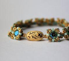 Hand Beaded Bracelet Aquamarine Glacier Blue by pjlacasse on Etsy, $120.00