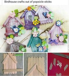 DIY Adorable House Magnets From Popsicle Sticks. Diy Popsicle Stick Crafts, Popsicle Stick Houses, Diy Recycling, Diy And Crafts, Arts And Crafts, Basket Crafts, Diy Ostern, Easter Crafts For Kids, Popsicles