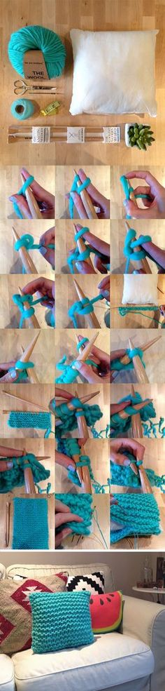 Yarn cushion tutorial. Thanks We Are Knitters