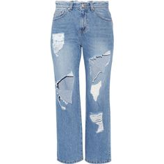 Steve J & Yoni PCropped Distressed High-rise Straight-leg Jeans (£250) ❤ liked on Polyvore featuring jeans, mid denim, destructed jeans, high waisted destroyed jeans, high waisted distressed jeans, blue jeans and high-waisted jeans