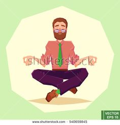 businessman meditates in lotus position. vector illustration in cartoon style. Business Illustration, Flat Illustration, Lotus Position, Relax, Yoga For Men, Cartoon Styles, Meditation, Spirituality, Creative