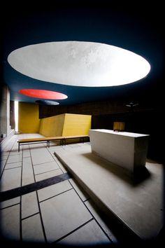 Interior of Le Courbusier's Couvent St. Marie La Tourette.