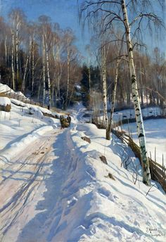 hajandrade: Peder Mørk Mønsted (Danish, 1859 - 1941), Sleigh Ride on a Sunny Winter Day [high res], 1919, oil on canvas || via Sotheby's