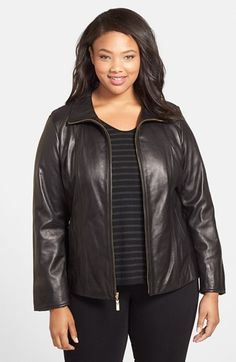 Ellen Tracy Leather Scuba Jacket (Plus Size) available at #Nordstrom
