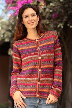 Alpaca Wool Cardigan Sweater - Be Bold | NOVICA