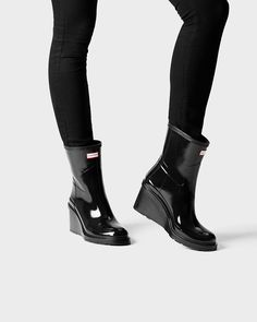 Womens Black Short Wedge Rain Boots | Official US Hunter Boots Store
