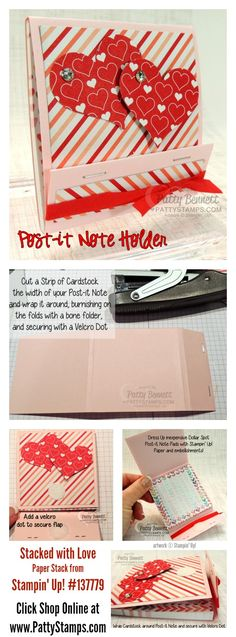 How to make a covered Post It Note for Valentine's Day by Patty Bennett