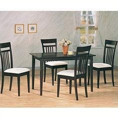 Coaster 4430 Home Furnishings 5 Piece Dining Set Cappuccino -- You can find more details by visiting the image link.Note:It is affiliate link to Amazon.