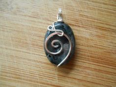 Sterling Silver Wire Wrapped Oval Larvikite Bead by OurBackYard, $9.00