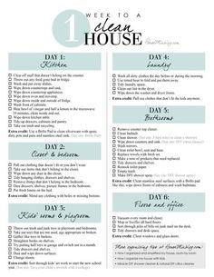 Printable checklist - 1 week schedule to a clean and organized house in 1 hour a. Printable checklist - 1 week schedule to a clean and organized house in 1 hour a day Deep Cleaning Tips, Cleaning Solutions, Cleaning Hacks, Diy Hacks, Household Cleaning Schedule, Household Tips, Weekly Cleaning Charts, Spring Cleaning Tips, Apartment Cleaning Schedule