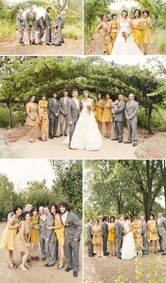 Love the mismatched bridesmaid dresses and the mismatched suits!
