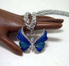 Butterfly necklace, chainmaille necklace, chainmaille, butterfly, gift idea by Chainedcreativity, $36.00 USD