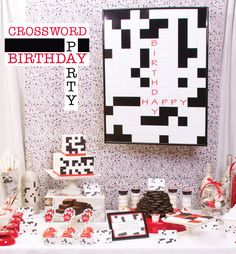*Clever Crossword Puzzle Dessert Table