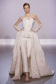 Avant Garde Brides Jumpsuit for Women Pantsuits for Women Elegant Suits for Women Pantsuit:   Pantsuit: Ralph and Russo   unconventialbride #samesex #rehearsaldinnerstyle #carascostyle @Carasco Photography