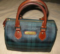 f761fce3ea Vintage RALPH LAUREN BLACKWATCH   GREEN PLAID Boston Handbag Speedy Doctor  Bag