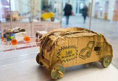 """Global Players - Toys from Africa A waggon made from old packaging material from Nigeria is on display in the exhibiton """"Global Players - Toys from Africa"""" from the campaign Gemeinsam fuer Afrika (Together for Africa) in Berlin, Germany"""