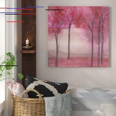 Bungalow Rose Under the Trees Painting Print on Wrapped Canvas Size: H x W x D Red Purple, Pink, Your Space, Canvas Size, Painting Prints, 5 D, Wrapped Canvas, Bungalow, Art Pieces
