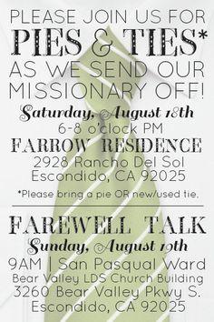 Pies and Ties - 4 x 6 Custom Missionary Farewell - Printable Invite. $15.00, via Etsy. Ever Love Design!