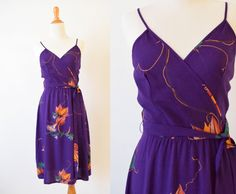 Vintage Purple  Floral Wrap Dress | Summer Challis Rayon  Dress |  Hand Printed Dress | Trumpet Lily Vine Dress by GracedVestige on Etsy