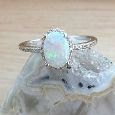 Opal Engagement Ring with Simulated Diamond Halo Sterling Silver Jewelry - AlphaVariable Vintage Engagement Rings, Diamond Engagement Rings, Diamond Rings, Halo Engagement, Solitaire Diamond, Vintage Opal Rings, Solitaire Rings, Band Rings, Engagement Ring Boxes