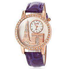Women's Diamante Round Dial PU Band Quartz Analog Casual Watch (Assorted Colors) – CAD $ 9.72