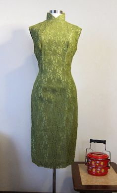 Sale 1950s Vintage Olive Green Lace Cheongsam Chinese Dress - LoveItSoMuch.com
