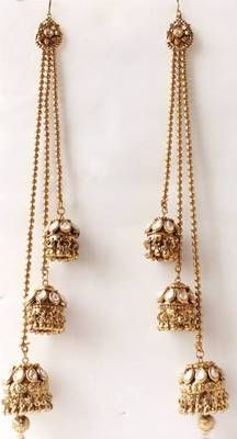 Find wide range of fashion jewellery, imitation, bridal, artificial, beaded and antique jewellery online. Buy imitation jewellery online from designers across India. Gold Jhumka Earrings, Statement Earrings, Jewellery Earrings, Cute Jewelry, Wedding Jewelry, Vintage Jewelry, Ear Chain, Pakistani Jewelry, Fashion Jewelry