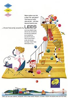Illustration by Jan Balet. When carpet was a new status level in homes....funny, how if one lives long enough (like me) how fads fade away and go back to the real thing...hardwood floors.
