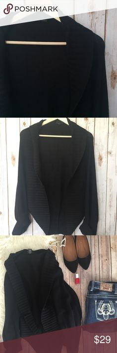 Torrid black draped layering cardigan This is a great draped layering piece for any time of year. Longer style on the back, flowy open front. Great chilly spring evenings or in the fall with boots.  Gently used, but in excellent condition. {RS4.99030.310317} torrid Sweaters Cardigans