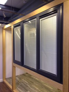 Brand new Integral Venetian Blinds have just been fitted. They're anthracite grey on the outside & white UPVC inside. Blinds For Windows, Windows And Doors, Kitchen Island Dining Table, Tiny Homes, Venetian, Showroom, Kitchen Ideas, Middle, Curtains