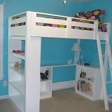 Loft bed for Jr. in a manly color, of course. Tiny room, smart solution and a handy daddy... now we juse need $ome fundage.