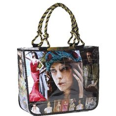 This eye-catching purse is made from actual fashion magazines that have been sewn together with a heavy duty, recycled, clear vinyl, lined and superbly finished. Made in Indonesia.