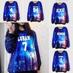 "Fabric material:cotton blend Color:galaxy blue Style:EXO,LAY-10,XIUMIN-99,KAI-88,CHEN-21,DO-12,SUHO-1,SEHUN-94,TAO-68,CHANYEOL-61,BAEKHYUN-4,KRIS-00,LUHAN-7,HELLO!  Size: one size Bust:110cm/43.30"" Shoulder:46cm/18.11"" Length:67cm/26.37"" Sleeve length:62cm/24.40""  Tips: *Please double ..."