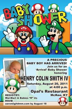 Super Mario Baby Shower Invites! | Chimento Twins | Pinterest | Mario,  Babies And Mario Party