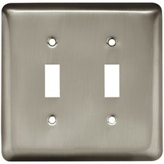 Style Selections�Stamped Round 2-Gang Satin Nickel Standard Toggle Steel Wall Plate