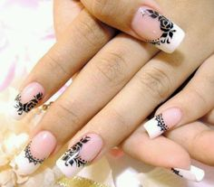 I like the lacey nail in this french mani... otherwise it's a little too much for me. ;)  very cute though!
