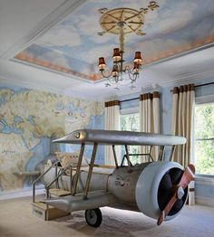 Coolest child's airplane themed bedroom...talk about money